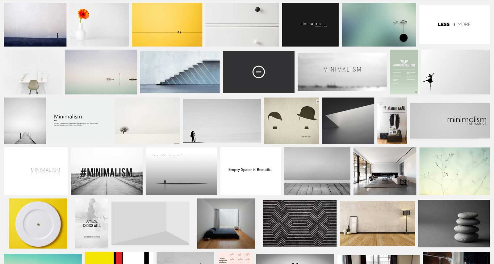 "Google search for ""minimalism"""