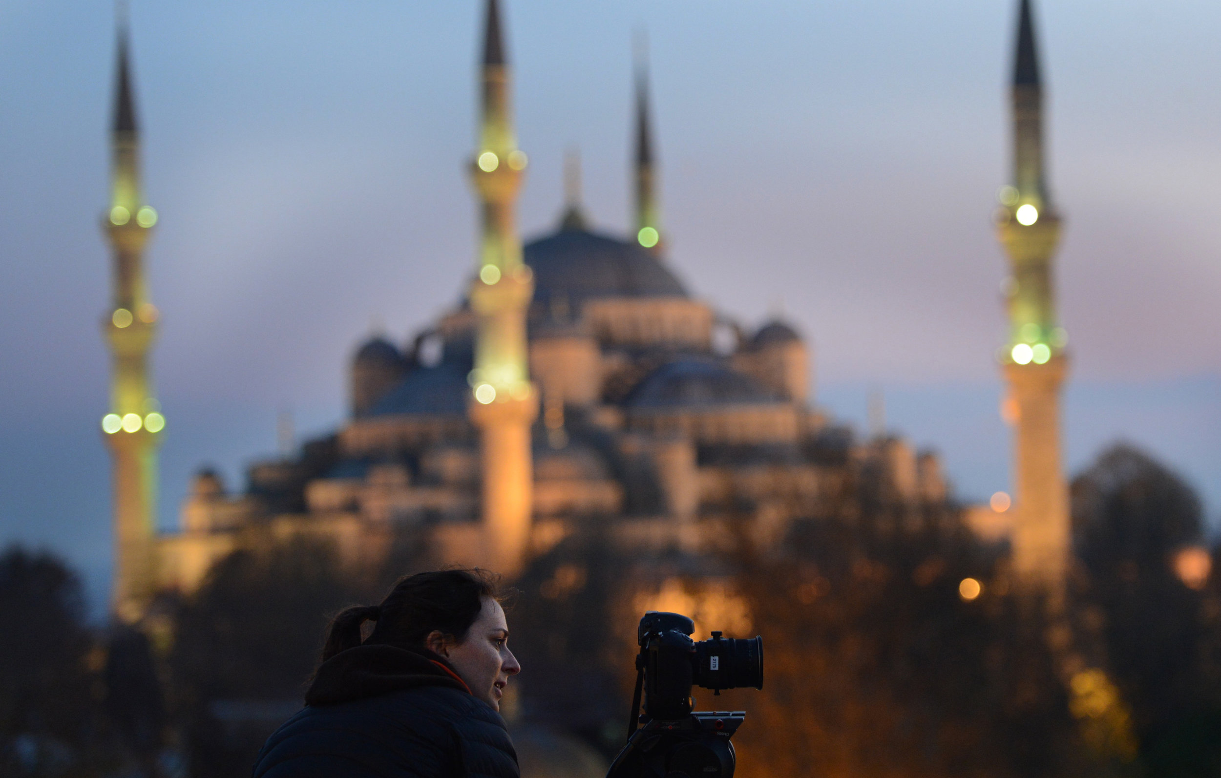 Capturing video from a rooftop in front of the Sultan Ahmed Mosque (popularly known as the Blue Mosque).