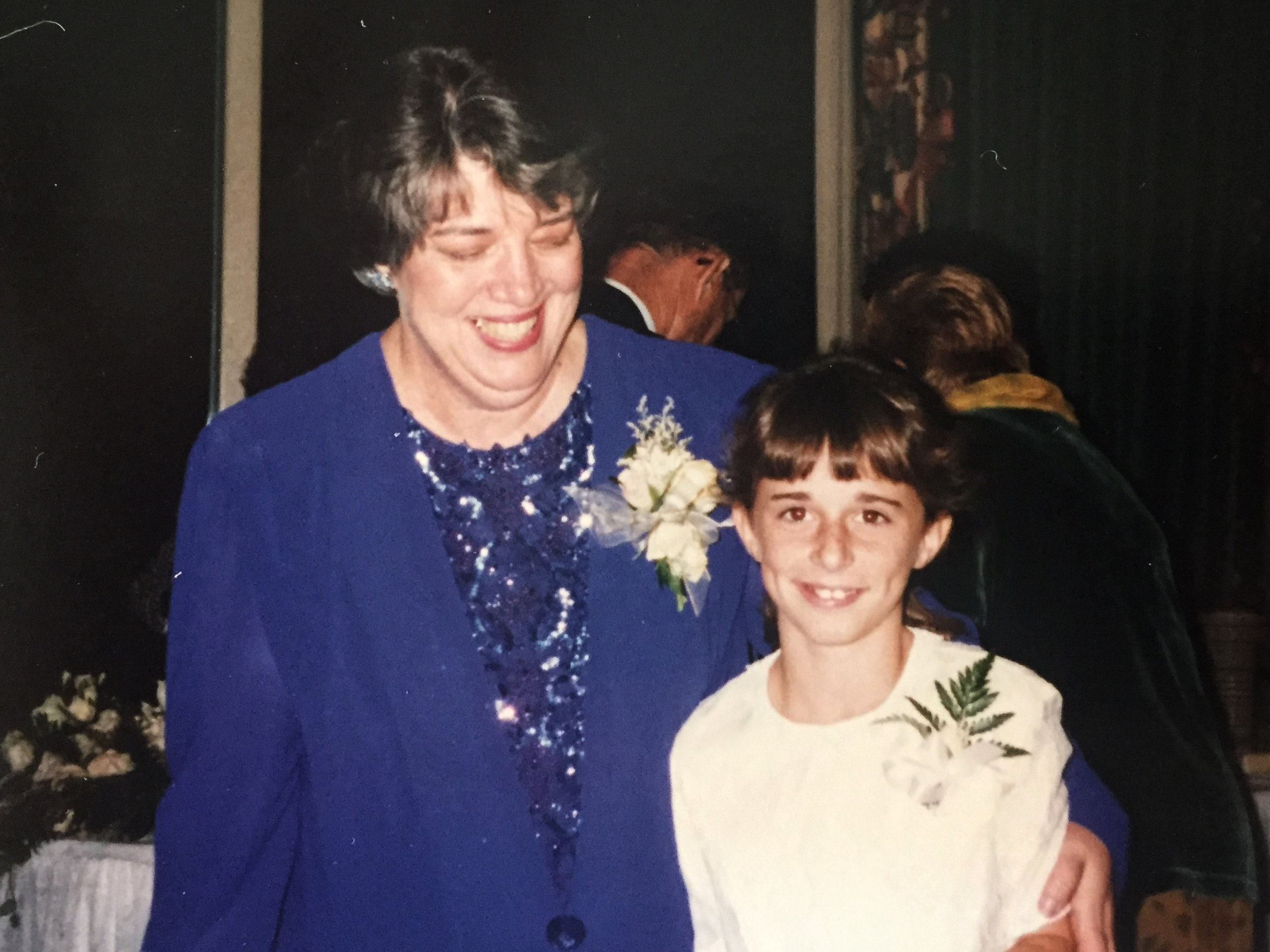 Mrs. Skelton liked our class so much she invited us all to her daughter's wedding. This is she and I at the reception.