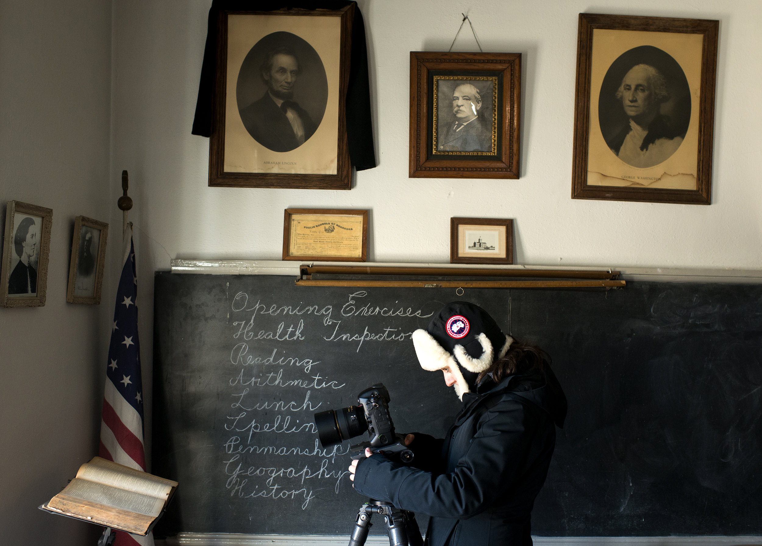 Shooting cutaways at a refurbished schoolhouse in Grand Island, NE.