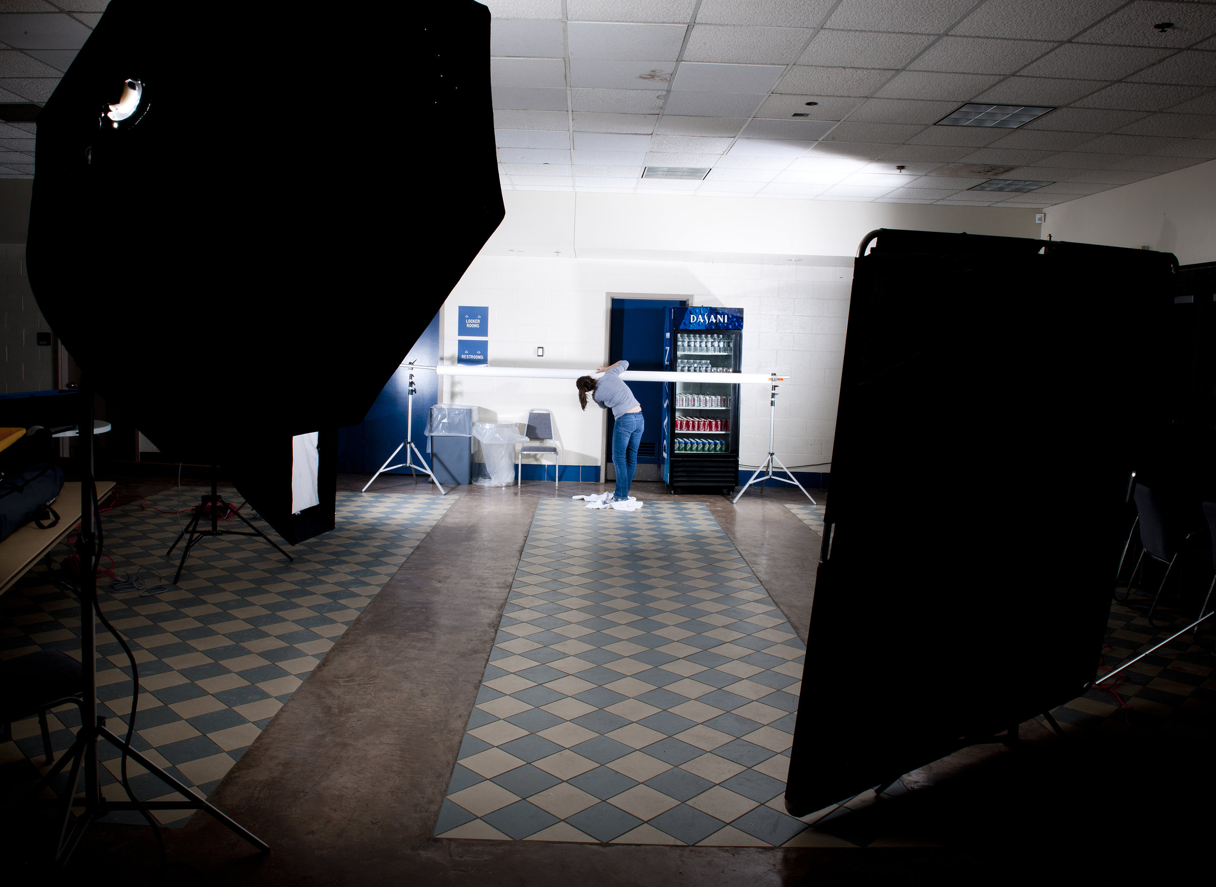 Setting up for a portrait of the UConn women's basketball team in 2011.