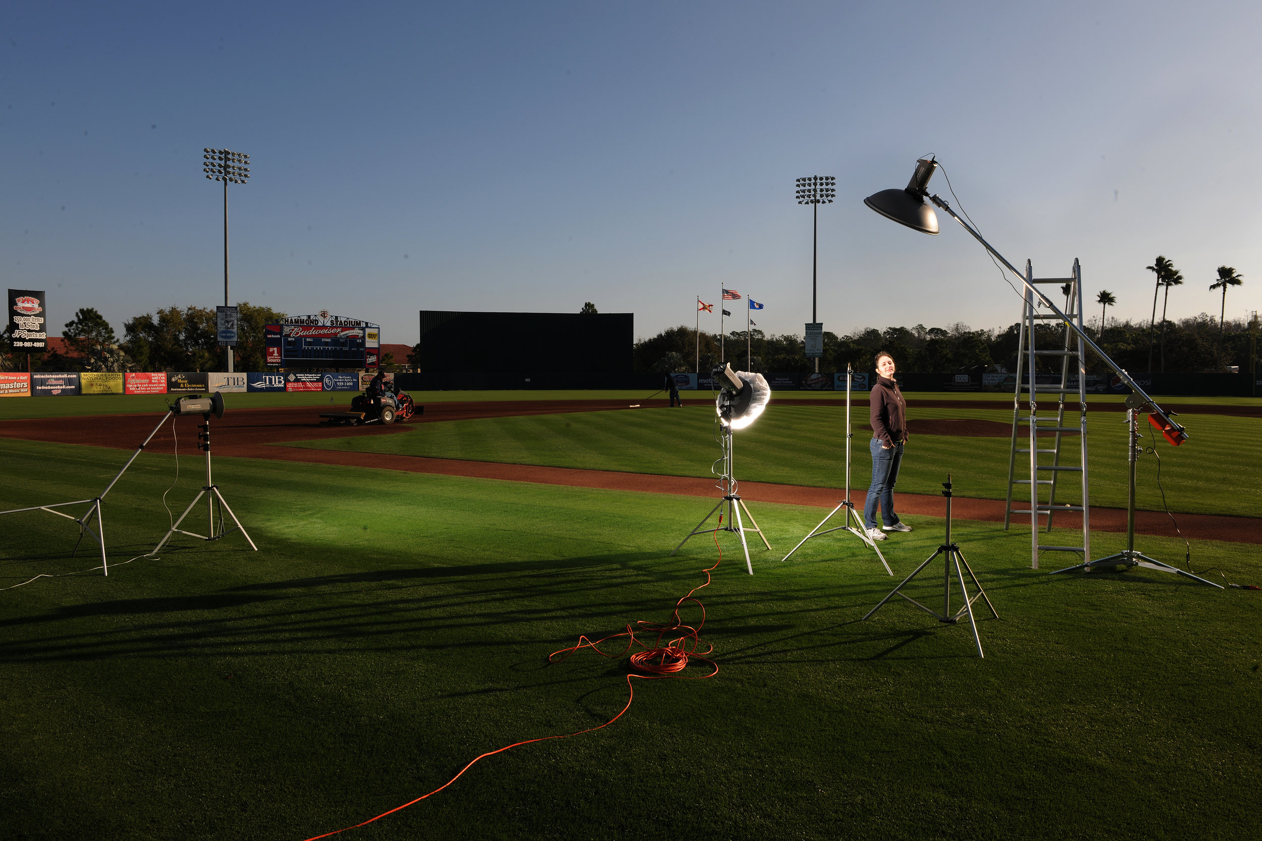 On set at some baseball field in Naples for some baseball player.