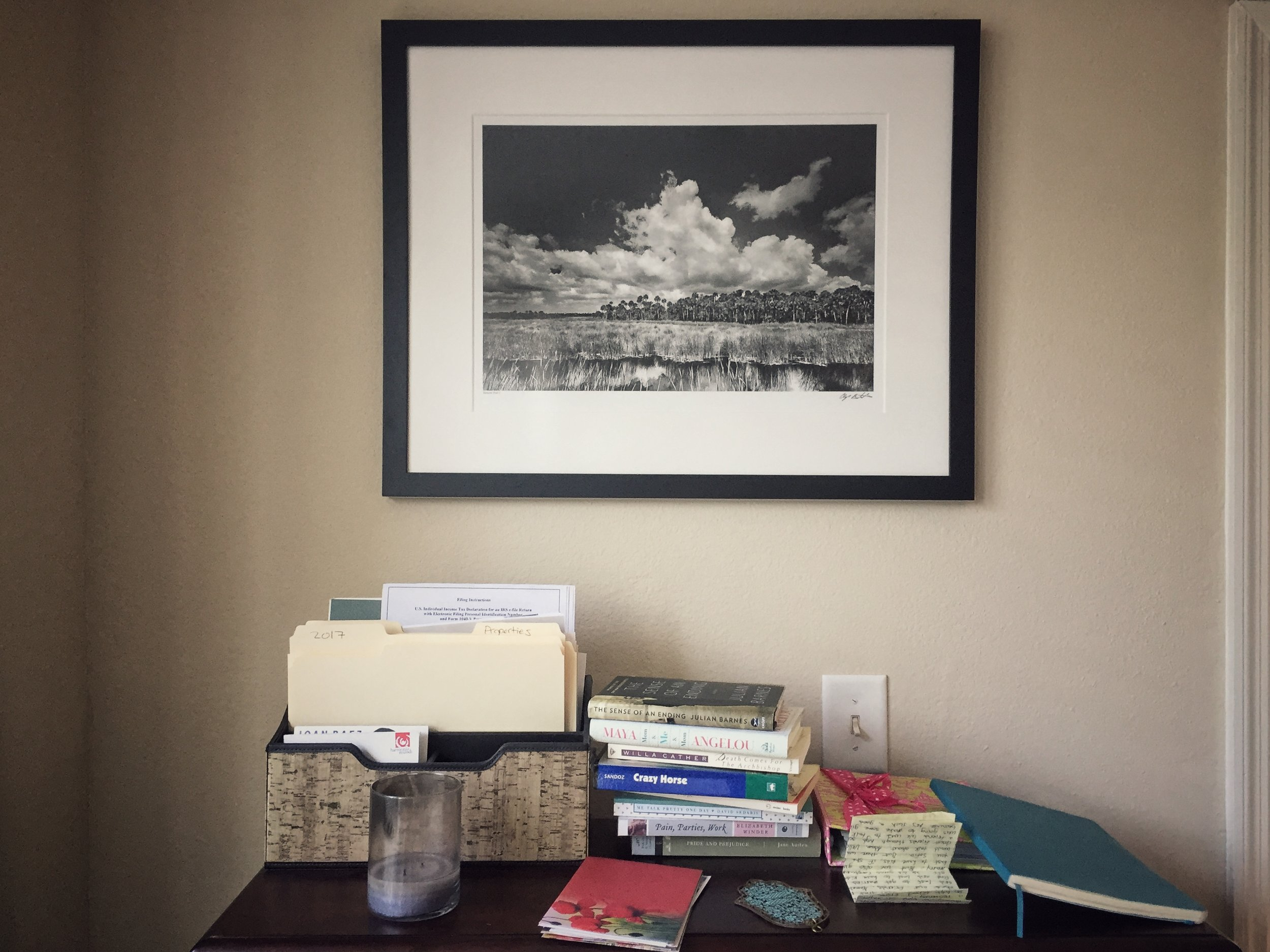 My Clyde Butcher print above my (messy) desktop.