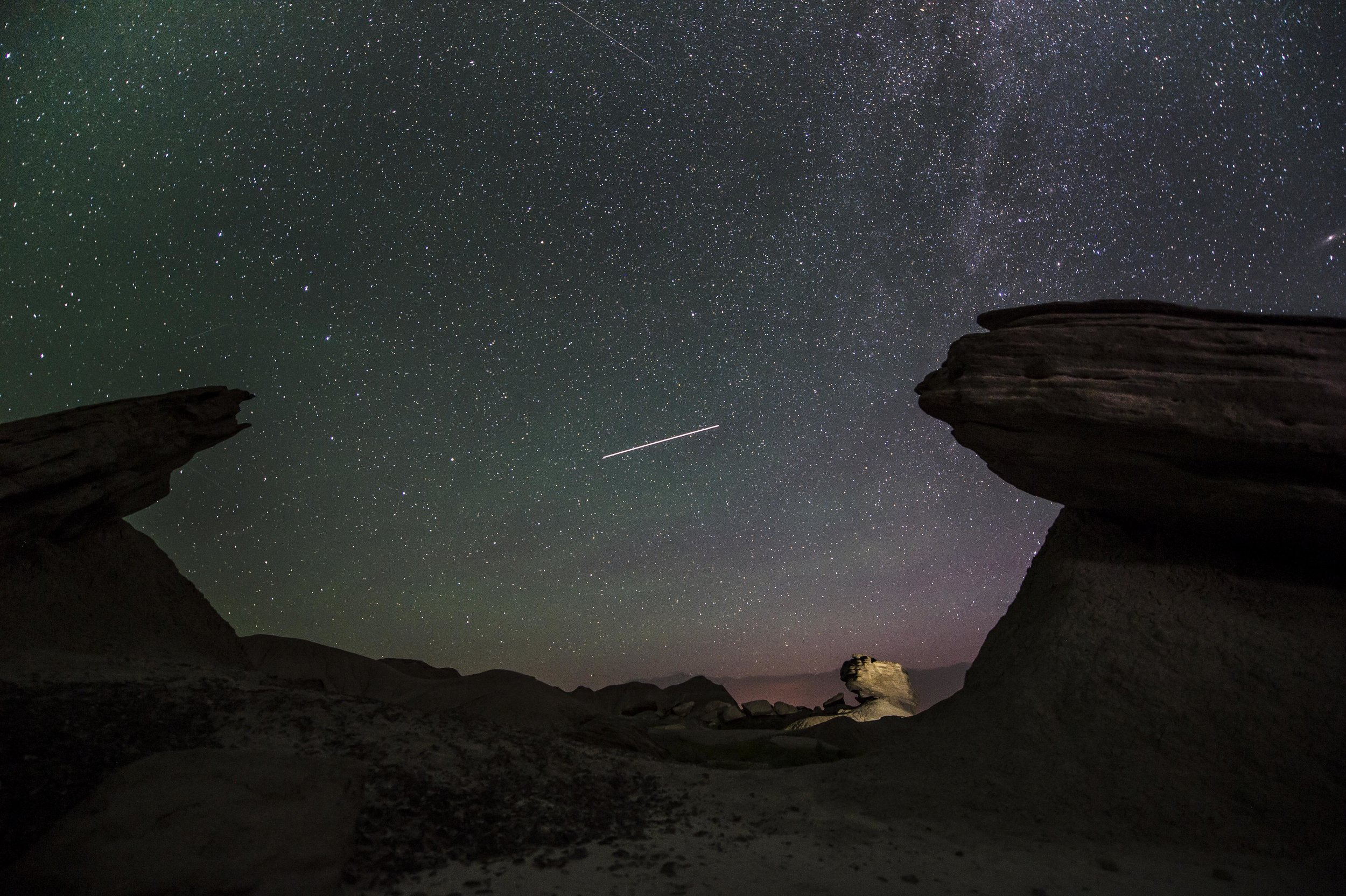 A starry night in Toadstool Geological Park in northwest Nebraska, this is  print currently available in our flash sale