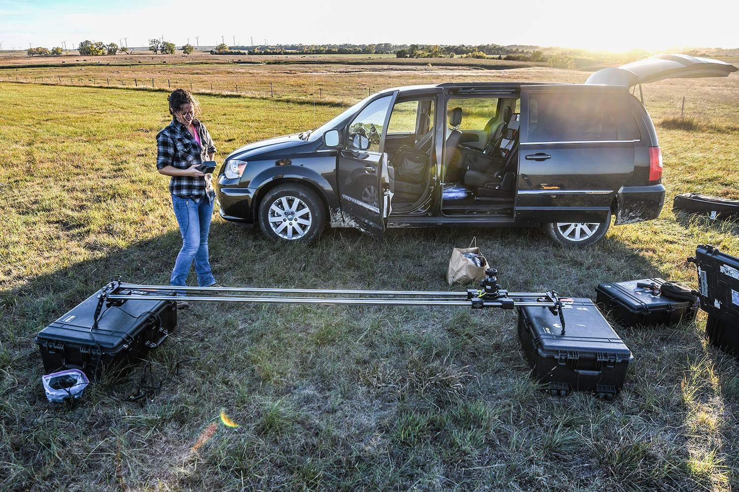 October 2016 in O'Neill, NE, setting up the Cinevate Motion Control Timelapse. It's not from this trip, but is an accurate representation of what life on the road looks like. The only difference being that it's colder right now, and our minivan is white.