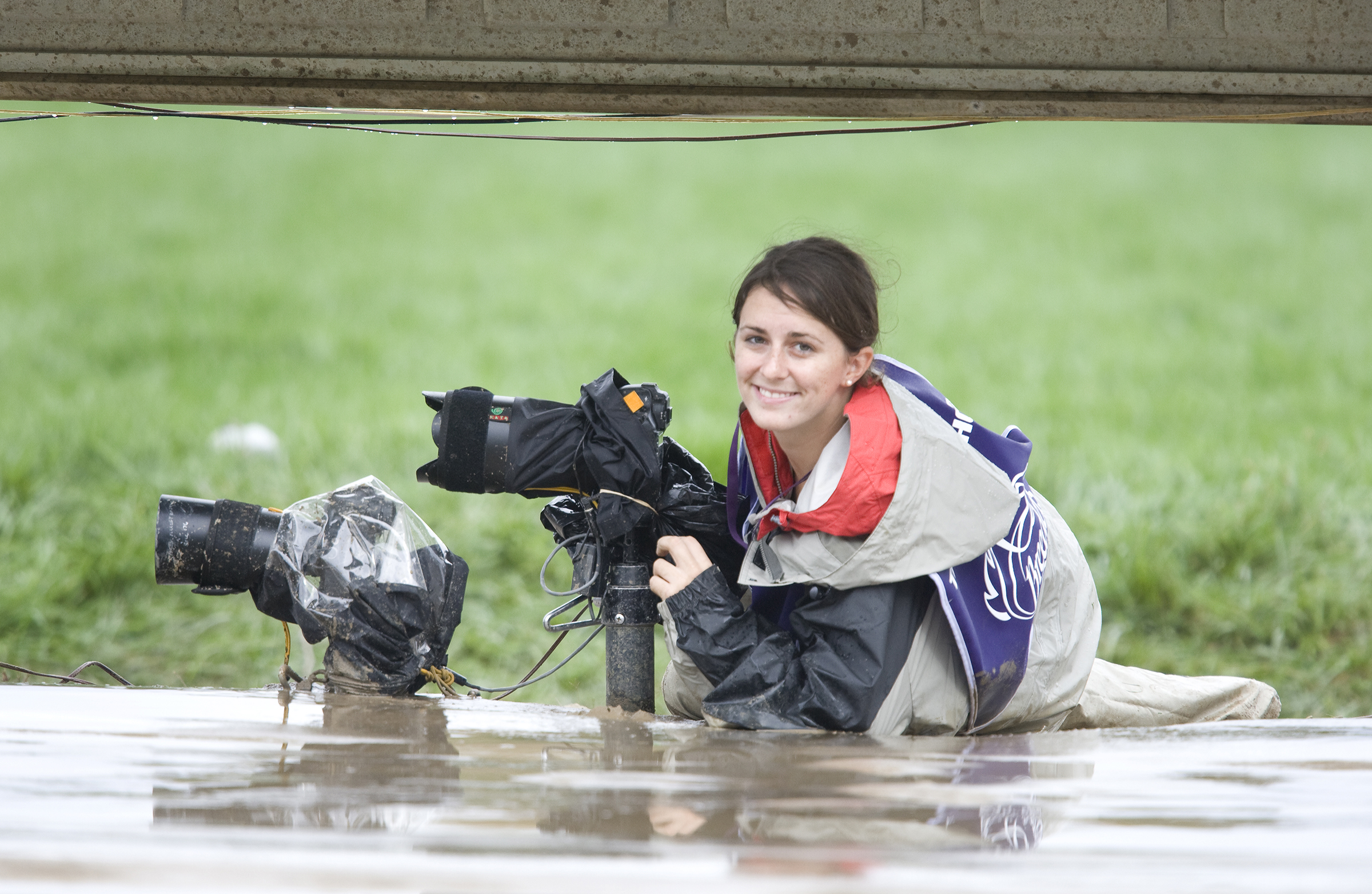 This actually isn't from the Derby. This is from the 2007 Breeder's Cup, but the idea is the same - mud, rail, cameras, me.