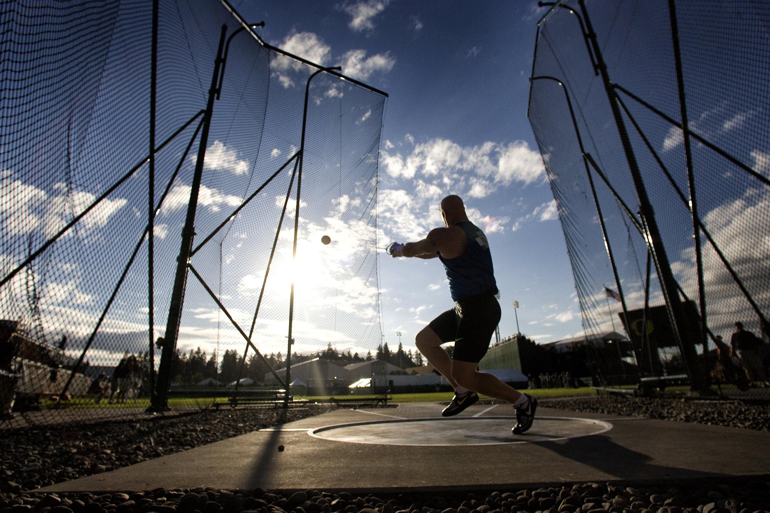 AG Krueger in the hammer cage in Eugene, Oregon.
