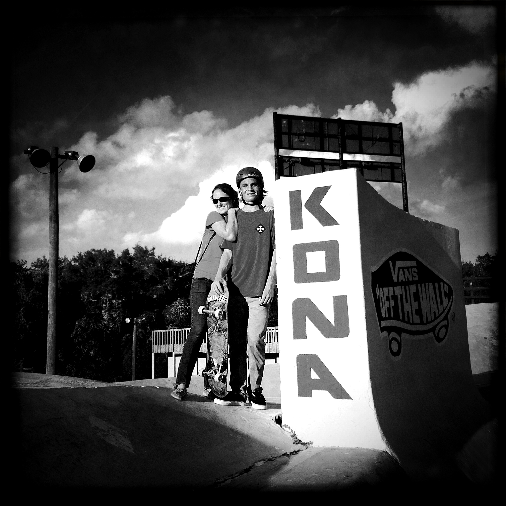 "With Cason at the famous ""tombstone"" at Kona."
