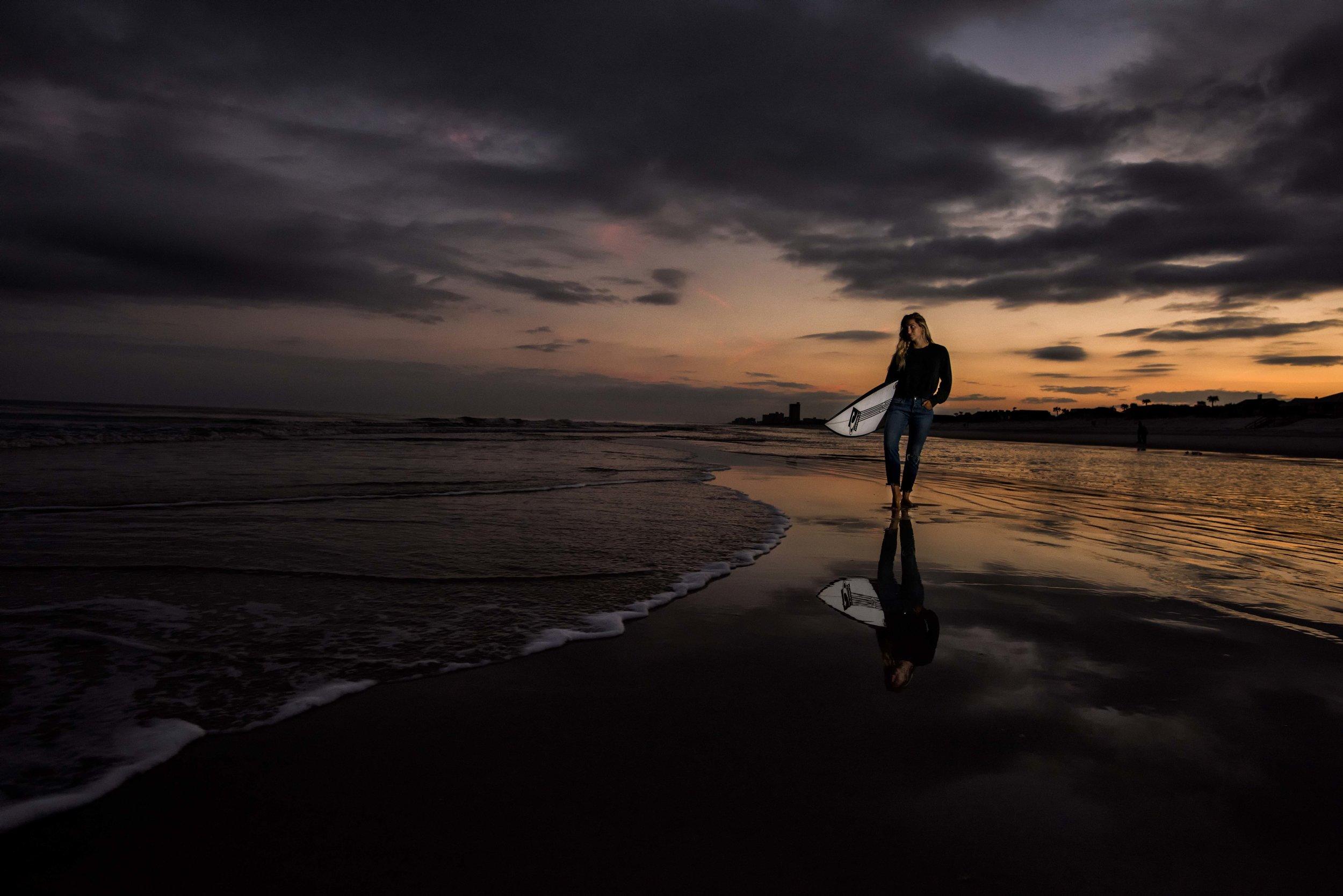 Dusk in Atlantic Beach with Molly.