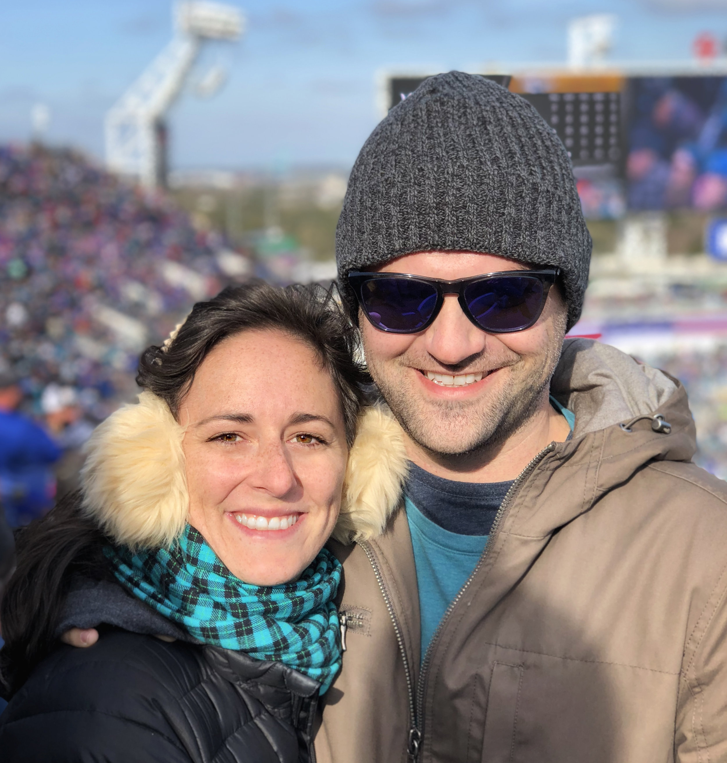 Being a fan at the Jaguars vs. Bills game during last week's wildcard playoff weekend. After freezing myself half to hypothermia in my first playoff game a decade ago, I took no chances  with the cold and bundled up with ear muffs, a scarf, a down jacket, and - not pictured - running shoes and wool socks.