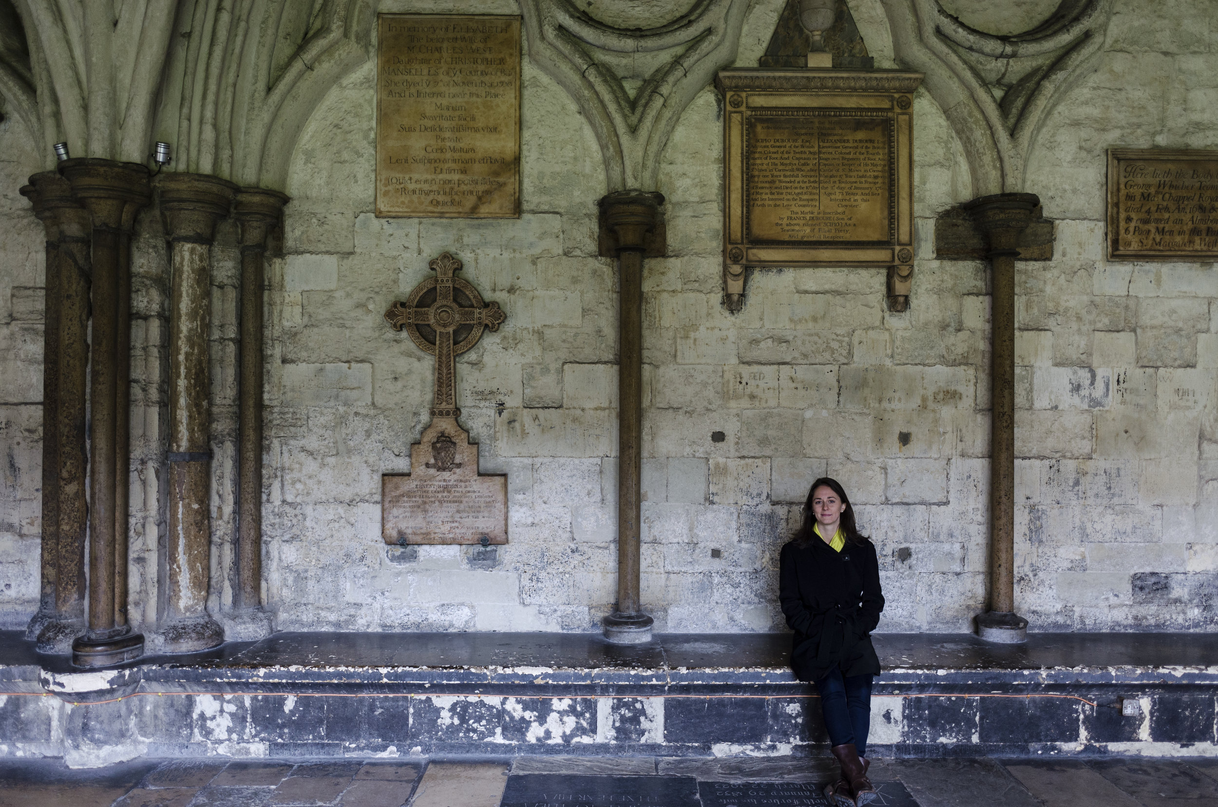 Among the textured walls of Westminster Abbey.