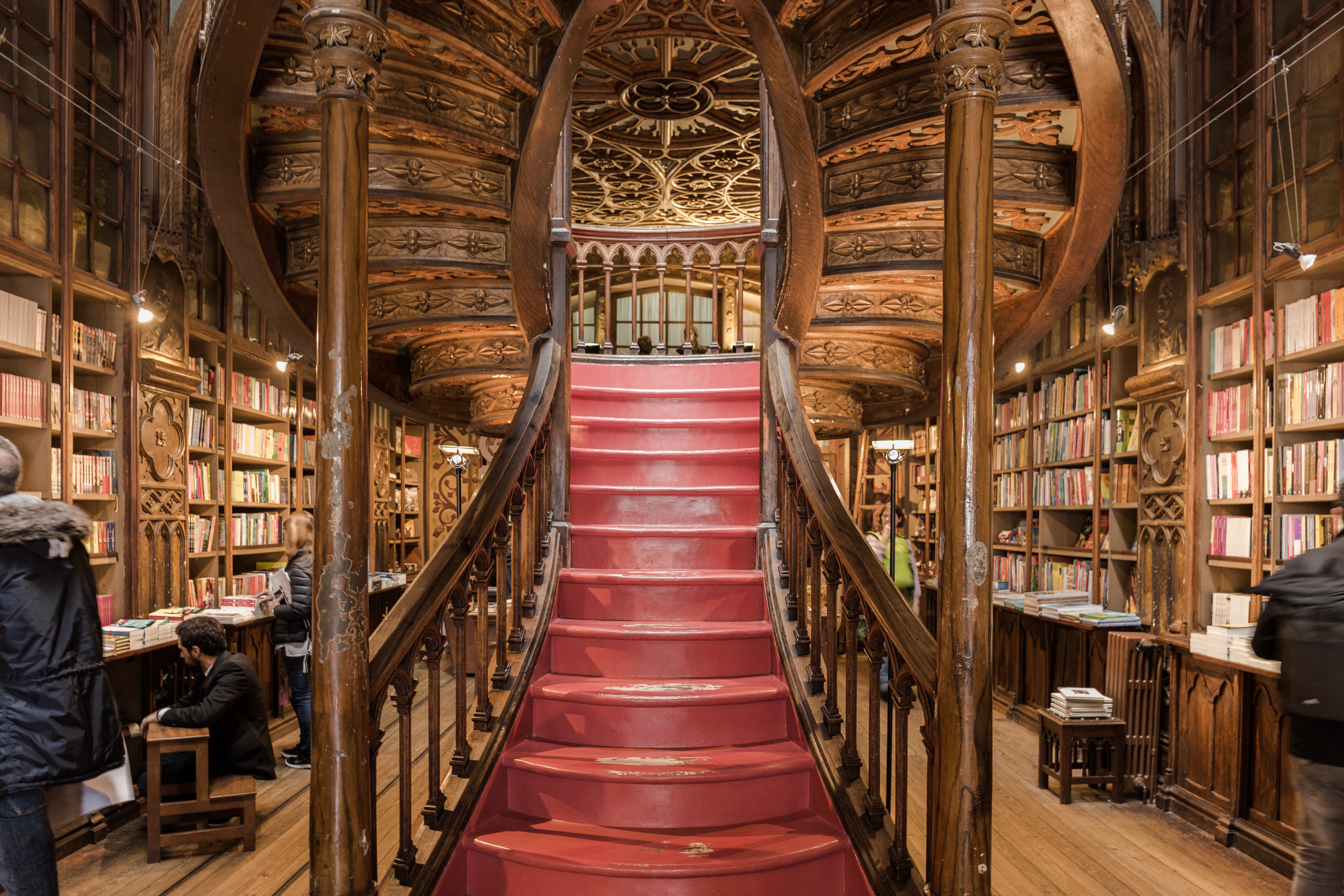 Wooden staircase inside the bookstore