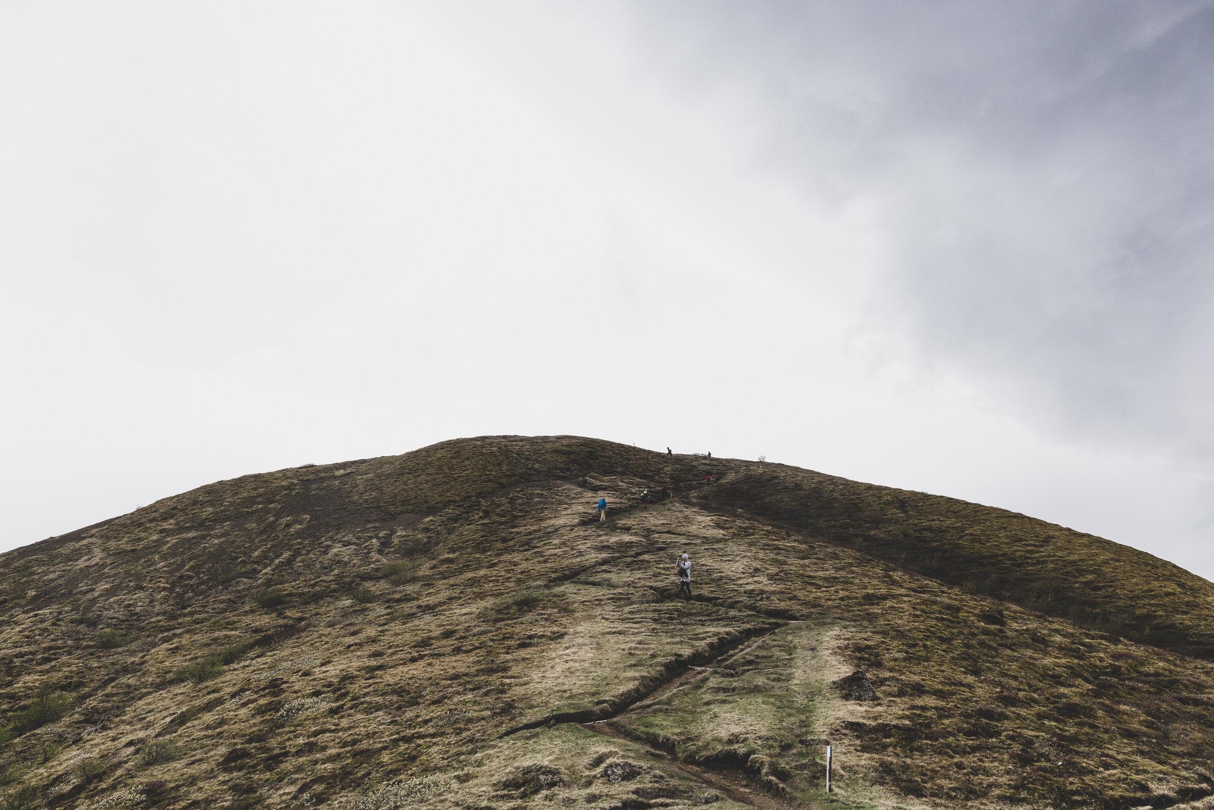 Hiking to the top of Valahnukur
