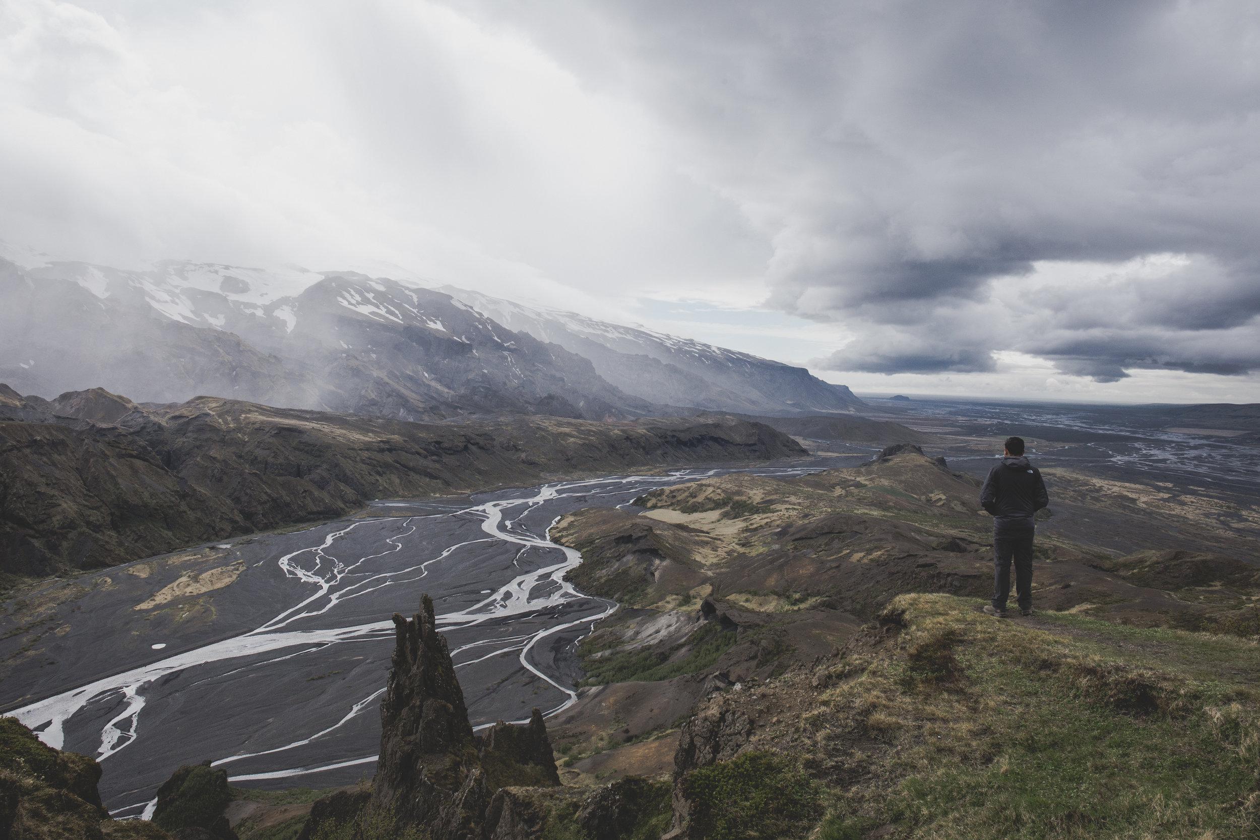 Sharad admiring the great views at the top of Valahnukur