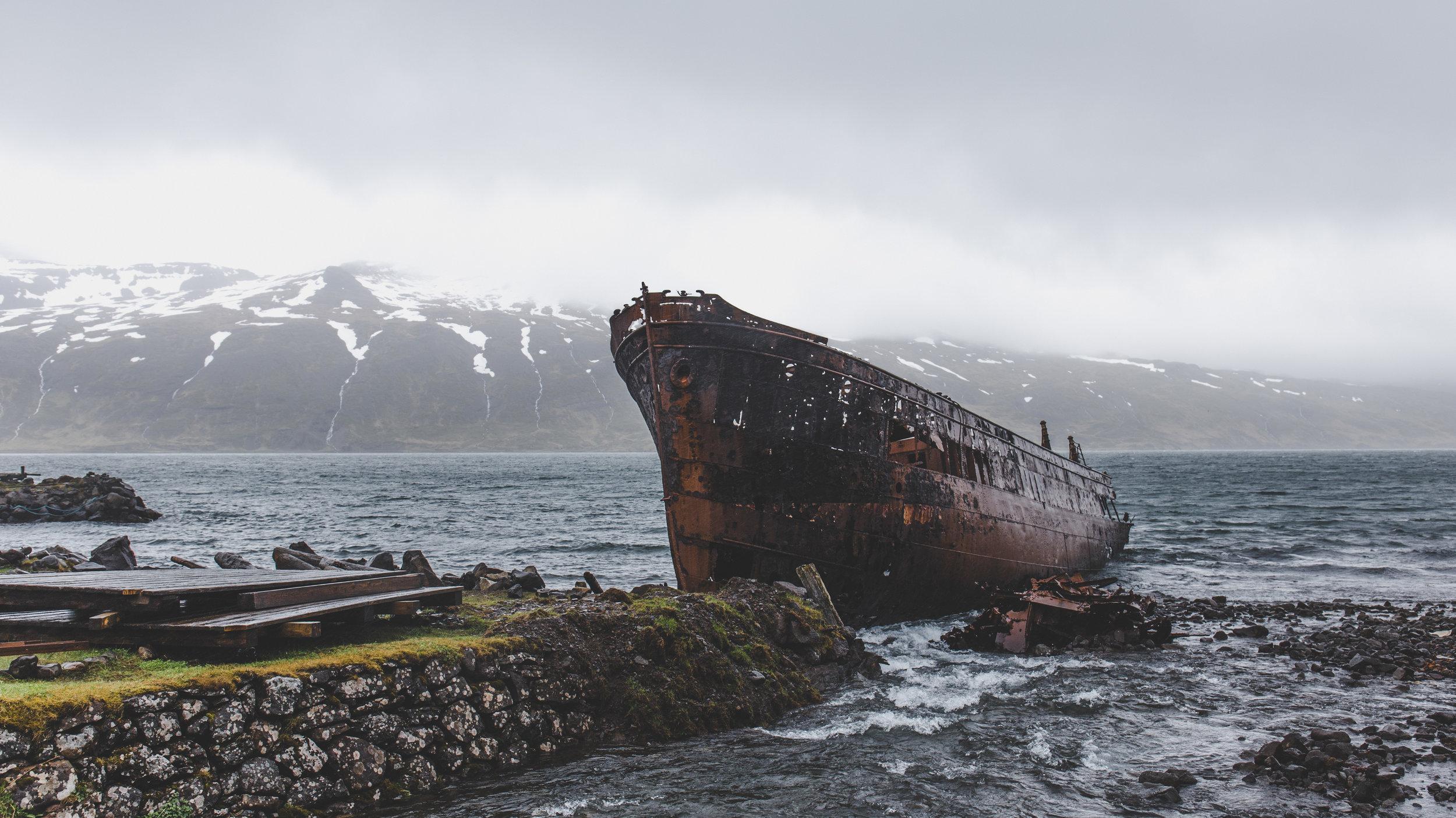 Deserted ship enroute Strandir Coast