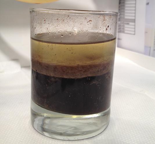 Water, Sludge, Diesel Fuel layers