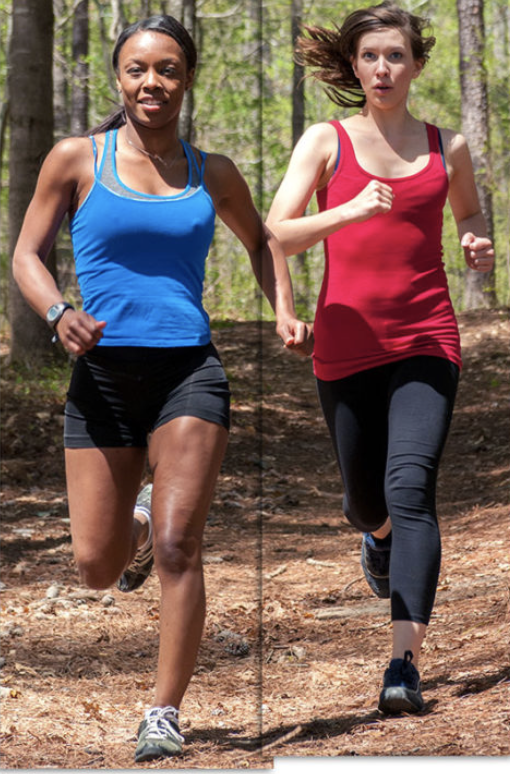 """Take good look at these gals. The gal on the left (in blue) looks like she has a level pelvis, but look at the upper body. She's leaning to the left and has a great deal of torso rotation backward. One of the clues is the abduction of her left arm. Also note how her right arm crosses across her body. We wonder how she looks in right foot stance.  The gal on the left (in red) has a subtle dip of the right side of her pelvis and also has over rotation of her upper body. Her right on crossing the body is a good reason to believe she will have a crossover gait if viewed from straight on.  While both of these gals may have adequate strength, we question how much endurance they have as well as available rotation in the hips and lumbar spine.  This is an excellent, referenced review of some of the current literature and controversy of strength and injury risk. A good read and certainly worth your time to get caught up on what's current. We would love to see you study on endurance and injury risk.  """"While muscle strength may improve tolerance of loads during running, another reason for inconsistencies in the reported relationships between strength and injury risk may be that strength is typically assessed isometrically. It's unclear how much of an influence peak isometric strength has on the dynamic task of running, and specifically on prolonged running in the presence of muscular fatigue. Schmitz et al found that, while isometric hip strength values were similar between novice and experienced runners, hip internal rotation motion during running was higher in the novice runners, suggesting isometric strength may not correlate strongly with muscular control and kinematics during running.""""      http://lermagazine.com/article/lower-extremity-strength-and-injury-risk-in-runners"""