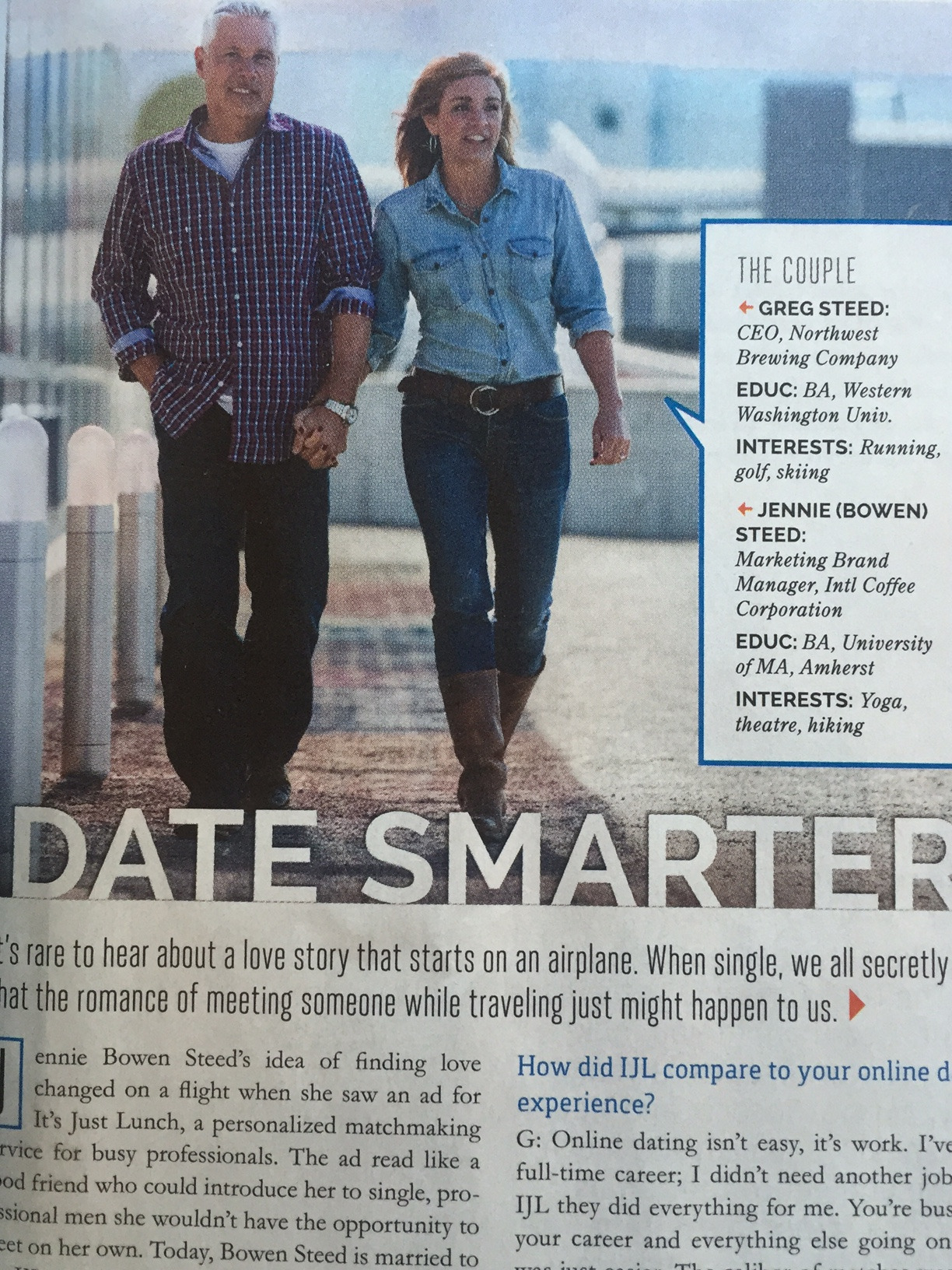 "Awkward photos…Date smarter but necessarily walk that way…   Take a look at this photo from an airplane magazine I was leafing through on my way home from teaching a recent needling seminar.  I am not really interested in matchmaking (which this ad is for), but the ""awkwardness"" of the gait caught my eye (not much on the gait cam this time, sorry).  Yes, their feet and legs seem to be in synch (for the most part), but take a look at the arms and hands. First of all, he has his right hand in his pocket, which will restrict its motion during forward movement of his left leg. In the shot, his right leg is forward (as is hers), though they are slightly out of synch. His left arm and hand don't move forward that much in that he adducts it across his body, so he seems to move his left shoulder up and forward to compensate. She appears to be resisting this motion somewhat with her right arm as her right leg comes forward and she needs to lean her body to the right. Also note the increased abduction of her left arm and forearm as it extends in tandem with her left leg and thigh.    Try walking with your right arm moving forward with your right leg. Notice how your right shoulder resists moving forward in tandem with the right hip? This is phasic, as Dr Allen likes to say, and because there is not an opposite force to counteract the forward movement of the hip in the saggital plane, you often lean to move the center of gravity to that side in the coronal plane .  Wouldn't it make slightly more sense, when walking hand in hand to have the opposite legs in synch, rather the same ones? Hmm…Food for thought and fodder. All that from a  little picture : )"