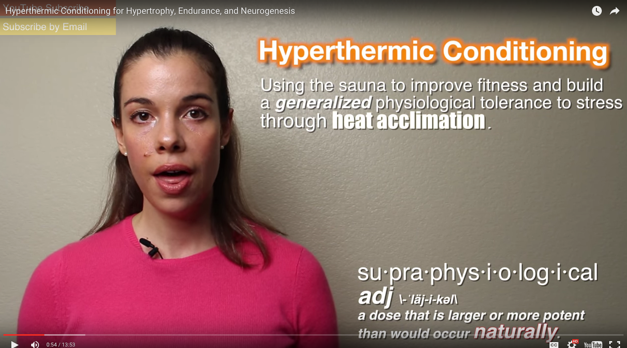 """Did you know using a sauna can (in some areas) produce better results than exercise?  I didn't believe it either. What are we listening to this week? For 1, one of Dr Ivo's new favs: Dr Rhonda Patrick    This is an absolutely great, referenced short on some of the benefits of hyperthermic conditioning (ie sauna use). One of the most surprising effects was benefits which exceeded exercising!       Here is one small excerpt:  Being heat acclimated enhances endurance by the following mechanisms:    It increases plasma volume and blood flow to the heart (stroke volume). This results in reduced cardiovascular strain and lowers the heart rate for the same given workload. These cardiovascular improvements have been shown to enhance endurance in highly trained as well as untrained athletes.     It increases blood flow to the skeletal muscles, keeping them fueled with glucose, esterified fatty acids, and oxygen. The increased delivery of nutrients to muscles reduces their dependence on glycogen stores. Endurance athletes often hit a """"wall"""" when they have depleted their muscle glycogen stores. Hyperthermic conditioning has been shown to reduce muscle glycogen use by 40%-50% compared to before heat acclimation. This is presumably due to the increased blood flow to the muscles. In addition, lactate accumulation in blood and muscle during exercise is reduced after heat acclimation.     It improves thermoregulatory control, which operates by activating the sympathetic nervous system and increasing the blood flow to the skin and, thus the sweat rate. This dissipates some of the core body heat. After acclimation, sweating occurs at a lower core temperature and the sweat rate is maintained for a longer period.     waaaayyyyy more in her video. Check it out  here . I had to listen to it several times to catch all the details."""