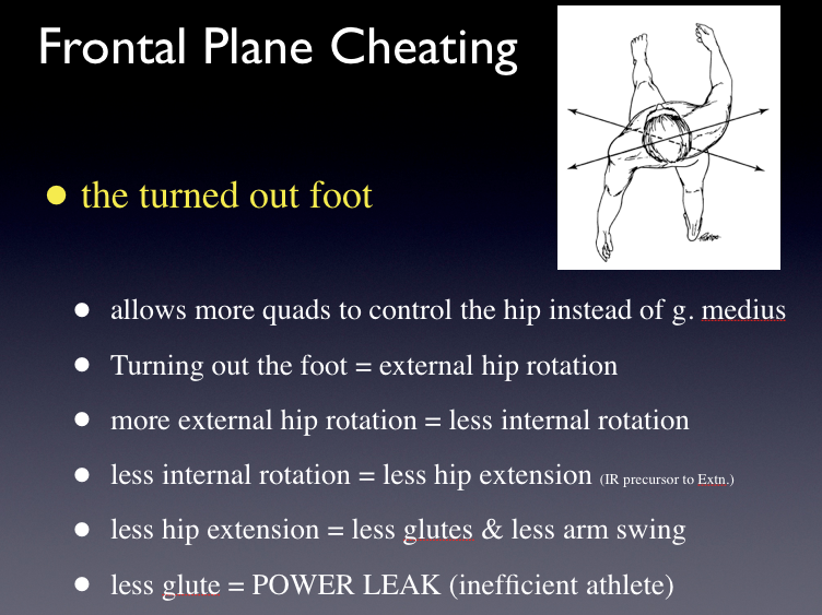 The turned out foot. How far ahead (and how fast) can you think ?    There are many causes of the turned out foot. The above slide is just one of many logical and possible chain of events.     There are also reasons above the neck that cannot be ignored in creating the externally rotated foot (and in resolving it). Things are not always biomechanical in origin so remember this when you are continually doing activation and rehab interventions to get more glute or drive more internal limb spin and your results are met with a non-response.     Most of us like a biomechanical line of thinking when it comes to apparent biomechanical aberrancies from the norm.  However, more often than you probably think (go back and listen to podcast 58 on Cortical Brain Mapping of injuries), several more purely neurologic reasons are plausible.  For example, changes in input/output in unilateral activity within the pontomedullary reticular formation (PMRF) of the brain can lead to inhibition of the posterior chain muscles below the T6 spinal level (And anterior muscles above T6. And what is awesome is that there are ways to test this kinda stuff on a physical exam !  However, this blog post is not the place to teach these neurologic examination procedures.  But, if this sounds like Janda's Upper and Lower Crossed Syndromes you are thinking soundly. Just remember though, if you are fixing what you see, you may not be fixing the problem, fix the cause that drove what you are seeing.  If you know your functional neurology you will know where these things come from, they are a cortical phenomenon).     Of the posterior compartment muscles below T6, the gluteus maximus is probably the largest of this group and when it is inhibited there is loss of control of its ability to stabilize single leg stance.  One strategy around a stability challenge would be to turn the foot/leg into the frontal plane (toe out) via external limb rotation.  Now we can use the remaining muscles in both the sagittal and frontal planes ! We are always more stable when we can engage two or more cardinal planes at the same time.   There are  many more reasons for the externally rotated limb/foot, for example vestibular dysfunction, cerebellar dysfunction, core dysfunction, impaired normal arm swing and the list goes on. We have talked about many of these reasons on many of our blog posts and podcasts.   Mental gymnastics when it comes to the brain are important, Keep your gait and human movement game sharp, work through scenarios in your head regularly because it is what is necessary when you are working up a client.     Shawn and Ivo   the gait guys