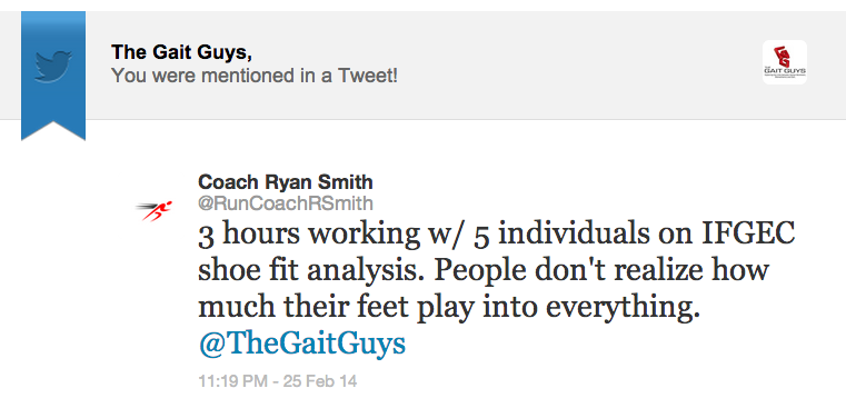"Thanks for the kudos Coach Smith !     for anyone interested… . .      1.  Gait Guys online /download store (National Shoe Fit Certification and more !) :     http://store.payloadz.com/results/results.aspx?m=80204     2. other web based Gait Guys lectures:     www.onlinece.com    type in Dr. Waerlop or Dr. Allen,  ""Biomechanics"""