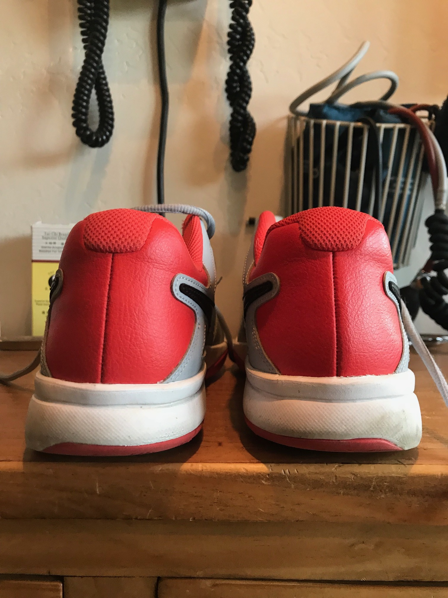 line up the center of the heel counters with the outsoles, and what do you see?