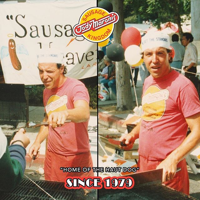 THROWBACK! King Jody in his natural habitat 🌭🌭since 1979 @jodymaronis #throwbackthursday #throwbackthursday #jodymaronis #jodymaronissausagekingdom #fair #hotdogs #sausages #chilicheesedog #bratwurst #hamburgers #cheeseburger #chilicheesefries #fries #venicebeach #venice #venicebeachboardwalk #losangeles #since1979 #homeofthehautdog
