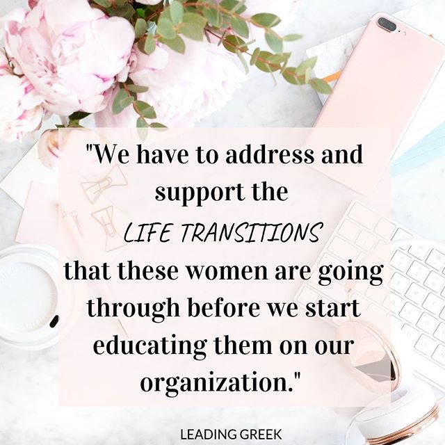 What are our priorities in sorority new member education? On our latest episodes, Tricia Stouder emphasizes the life transitions that students go through during college years.⠀ ⠀ We need to first address and support these transitions before we start teaching them the Greek alphabet. Do you agree?⠀ ⠀ Listen now in your favorite podcast app or link in bio.⠀ ⠀ #sorority #highered #genz