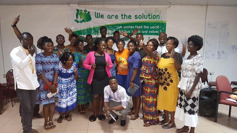 Family photo at a community radio training workshop in, Techiman, Ghana.