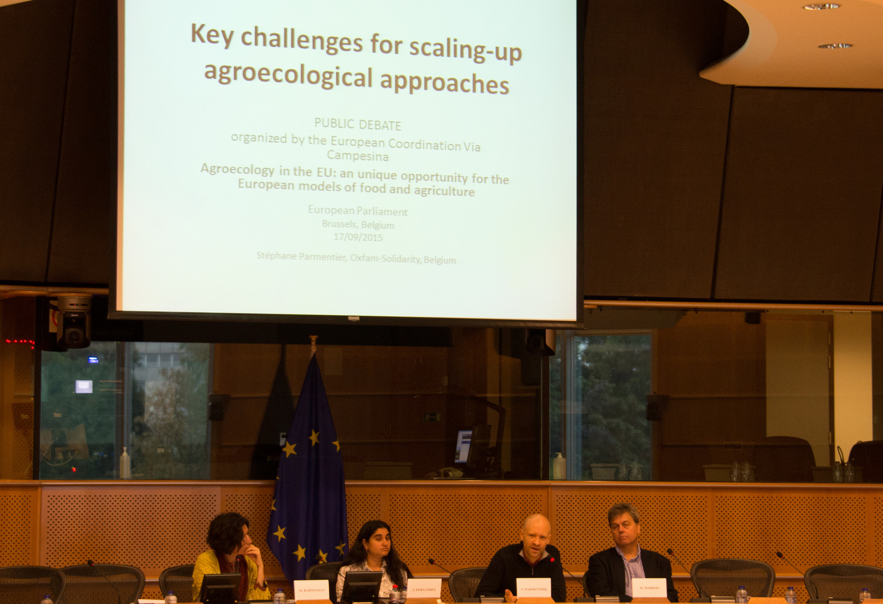 Policy dialogue in the European Parliament in Brussels in September 2015, organised by CAWR, UK and ECVC, Belgium. Photo credit: Colin Anderson/CAWR.