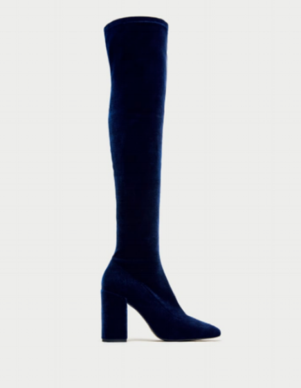 VELVET OVER THE KNEE HIGH HEEL BOOTS $49.99