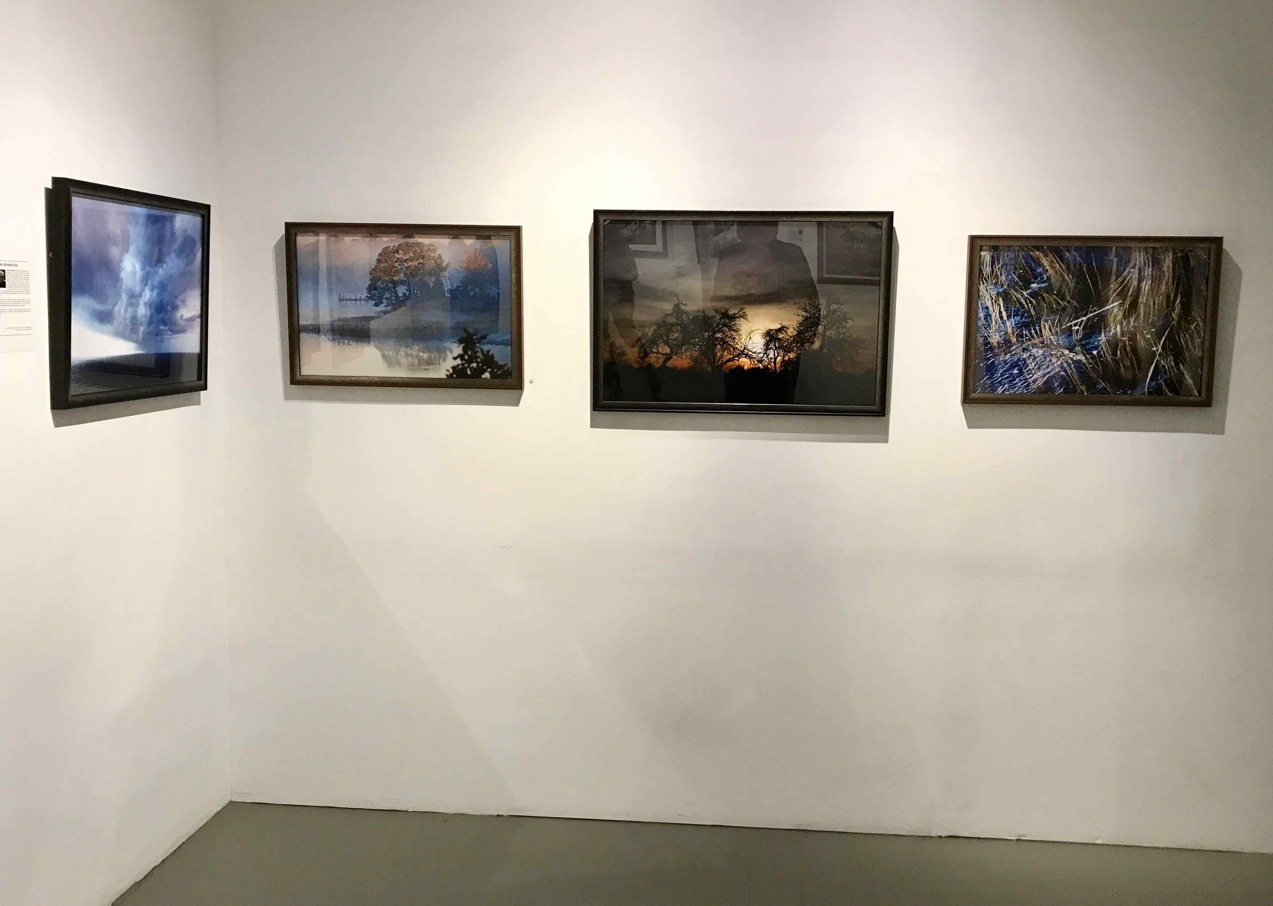 "Skimming the Storm. Mystic River. Leaving Tomorrow. High Tide in Motion (Image Titles from left to right). ""Illumination"" Exhibition at Agora Gallery in Chelsea, NY from October 20 till November 9, 2017"