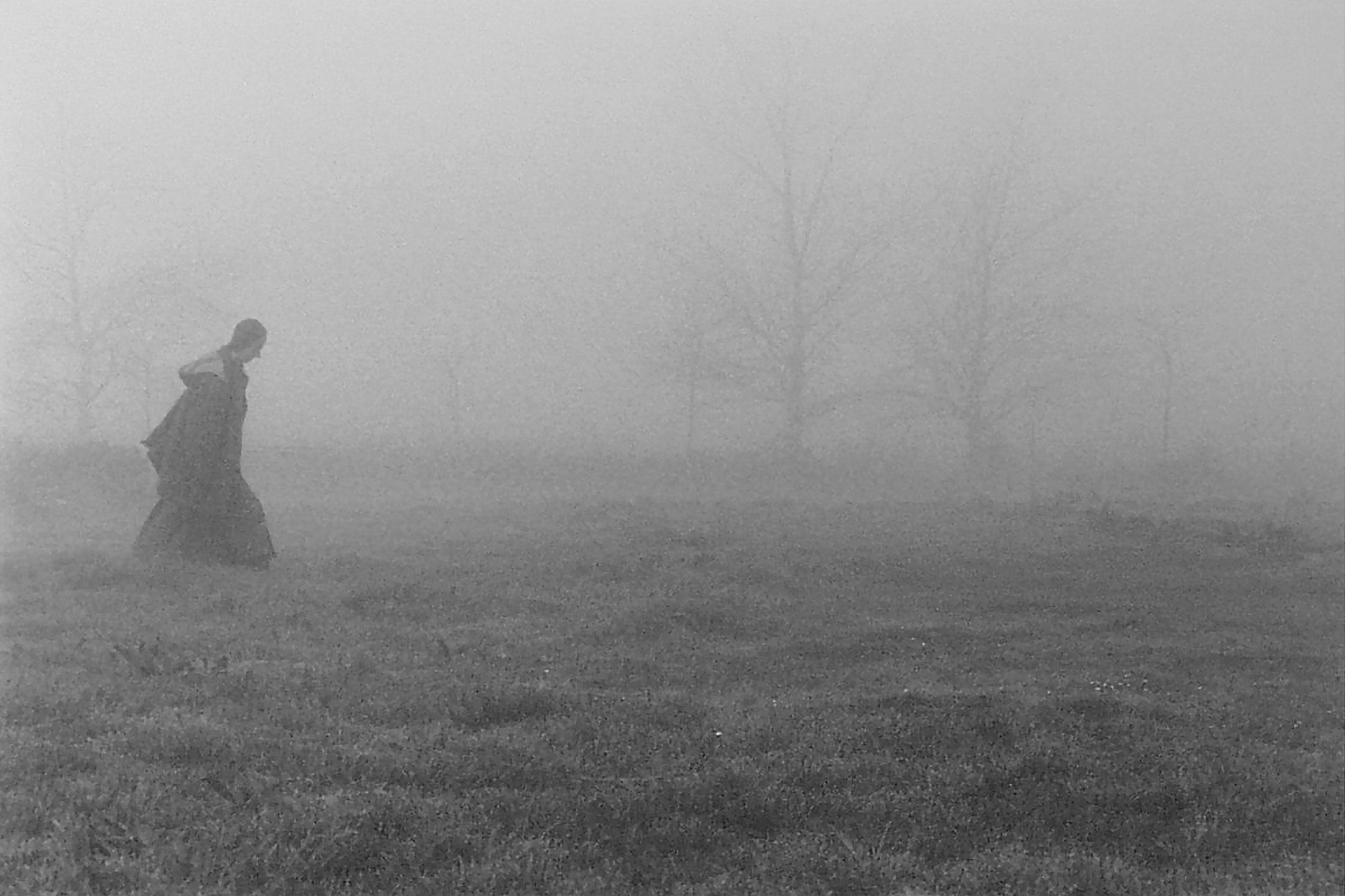 Monk Strolling in Fog