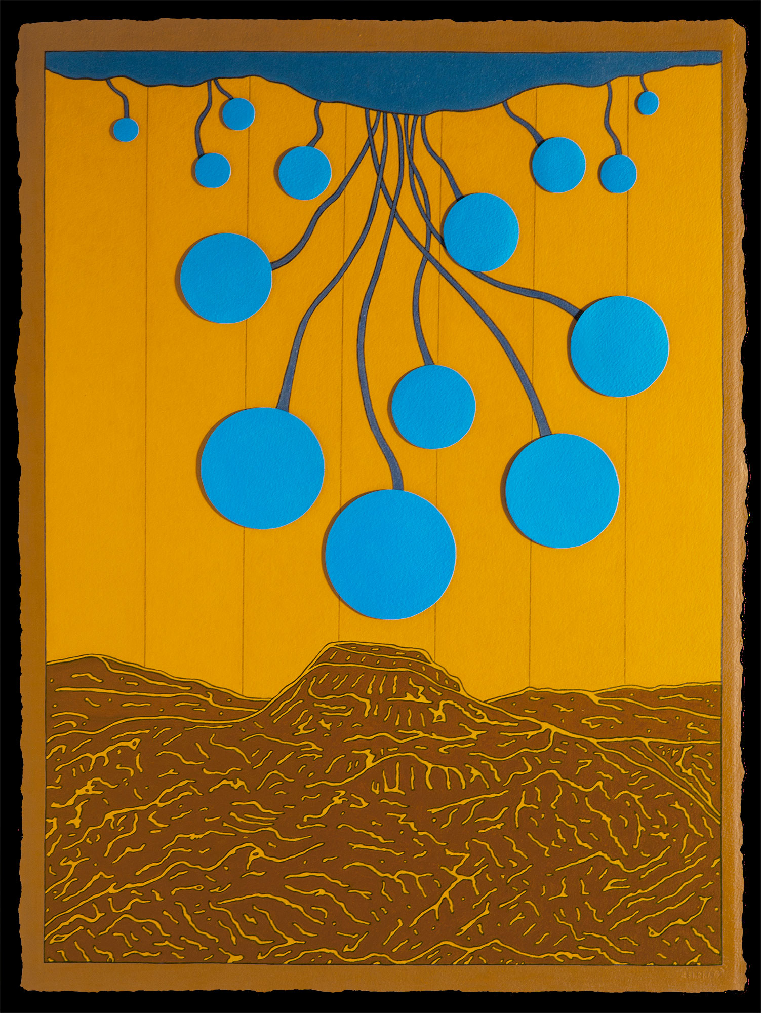 Yellow Landscape with Blue Spheres