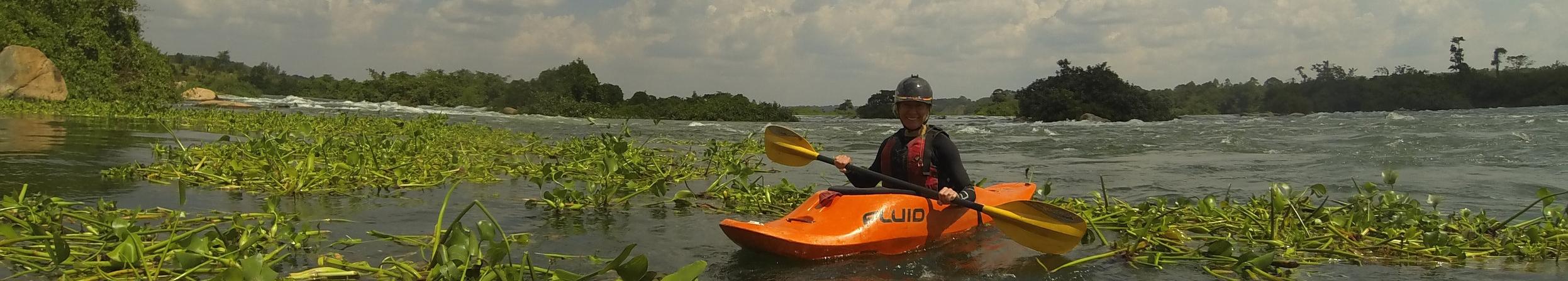 White water kayaking on the Nile in Uganda