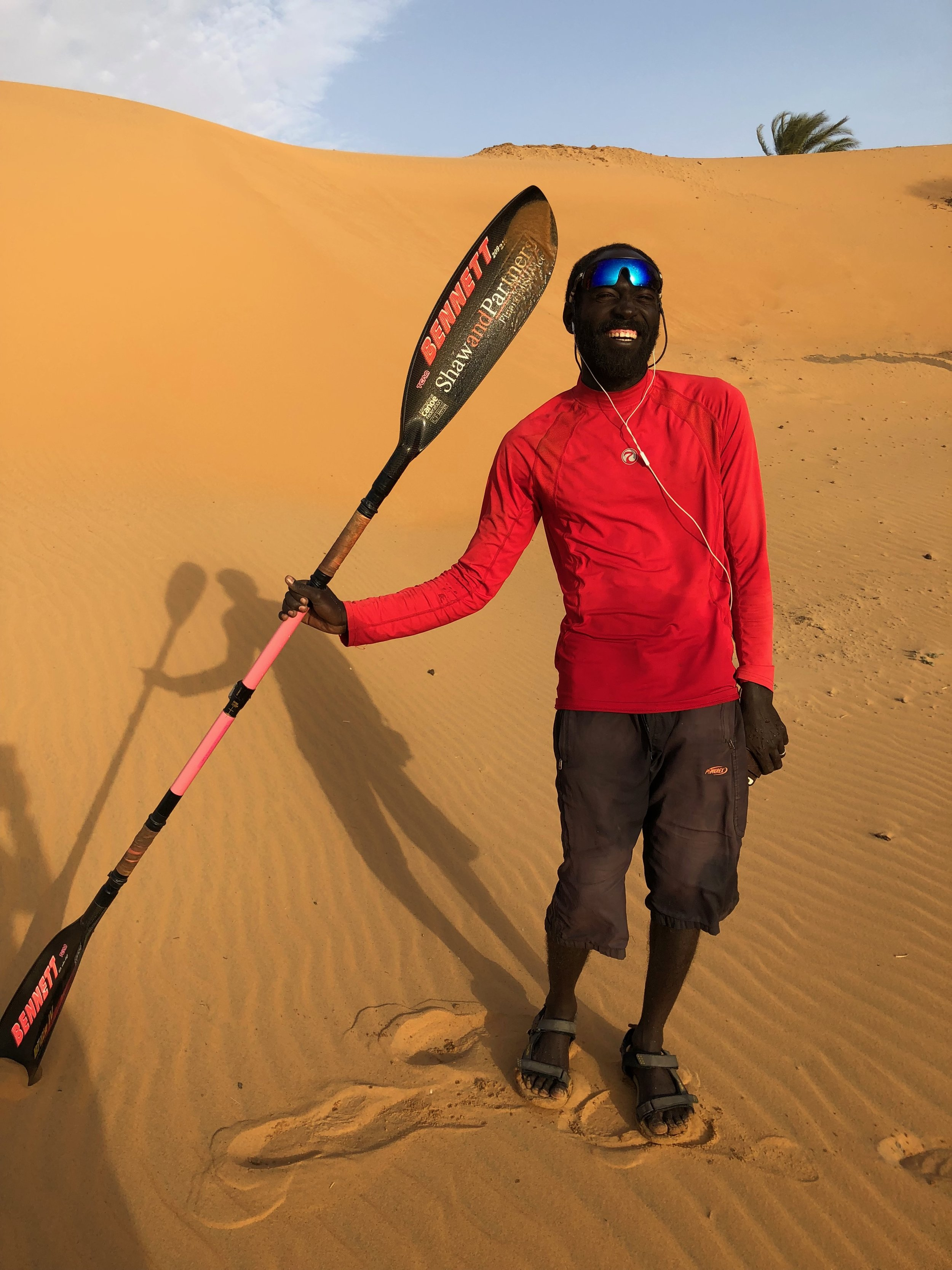 COACH AIMUN  Aimun, one of Sudan's top swim coaches, kindly joined the long paddle up from Khartoum to Wadi Halfa. He did so much to sort out logistics on the way and keep the expedition moving. And we shared many laughs! -