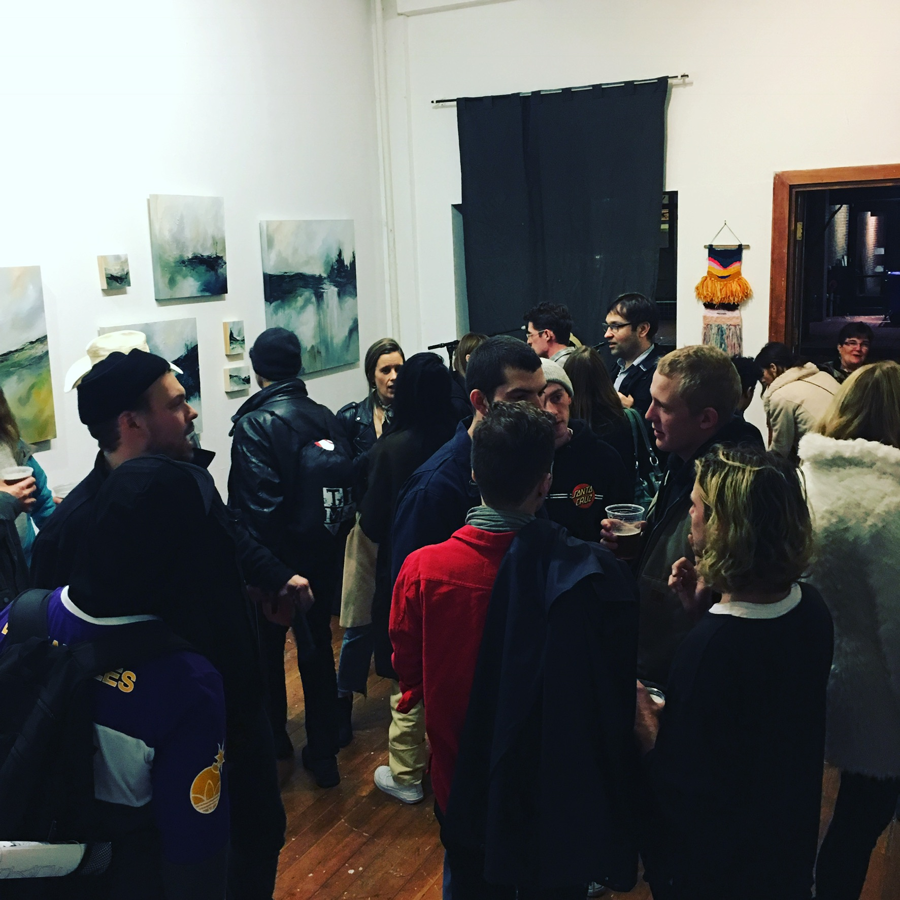 First Thursday crowd at the opening reception on November 3, 2016.  A great mix of old friends & new, family, and visitors who came back after enjoying the opening reception last month.  Thanks for your support! +