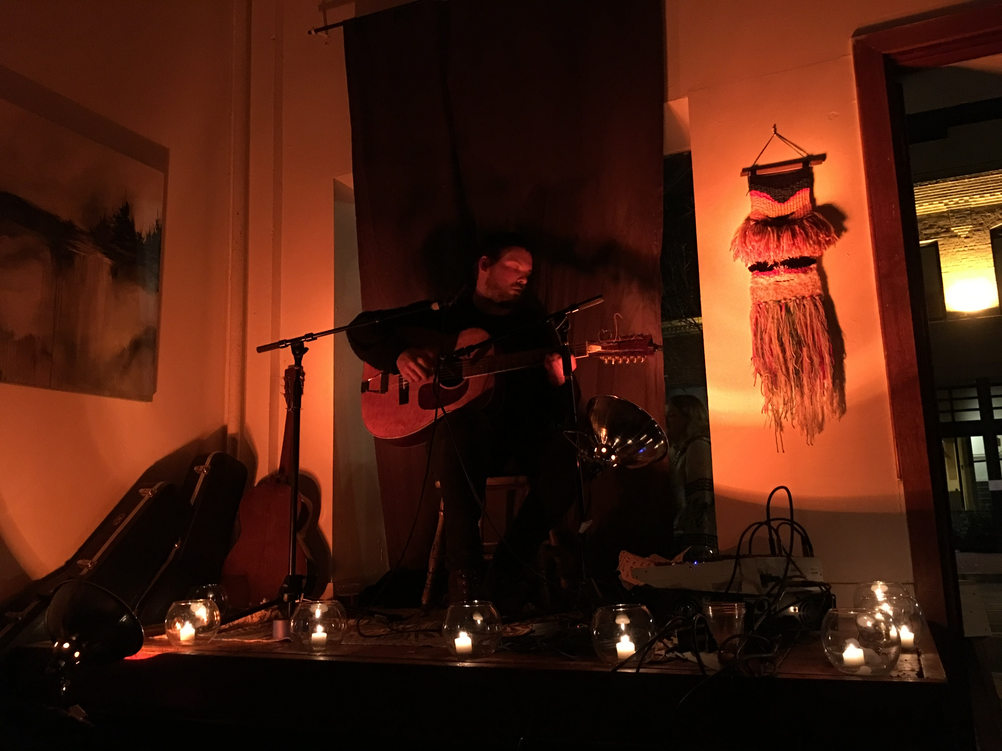 Incredible solo performance by local musician & primitive guitarist BRIAN MICHAEL LEVIN at the opening reception.  This is a rare treat, and an honor to have been able to share this experience with so many people!