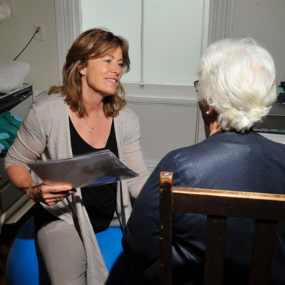 Margie Humphreys interacting with patient