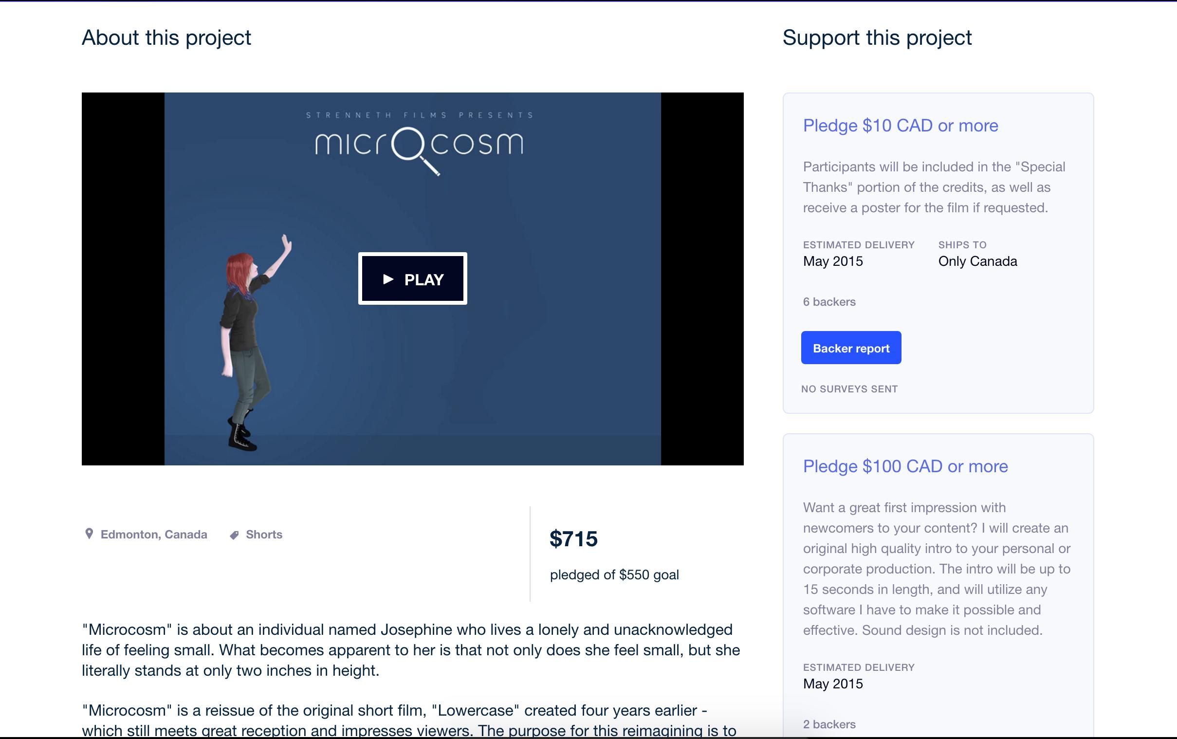 The Kickstarter campaign.