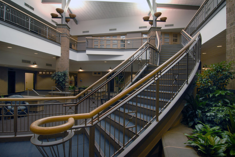 Grand staircase in the Eide Bailly Fargo office.