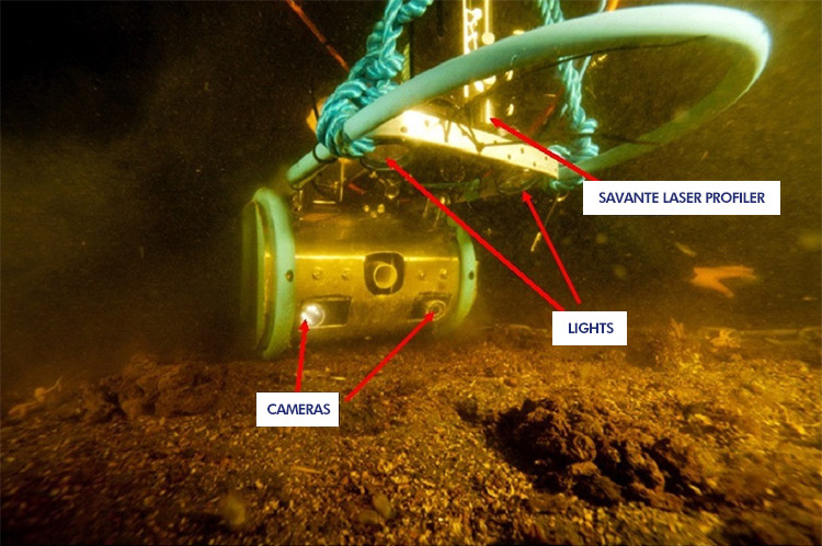 Diver camera captures laser-equipped seabed sled before passing over sample of Sabellaria worm reef (foreground). Image courtesy of SAMS.