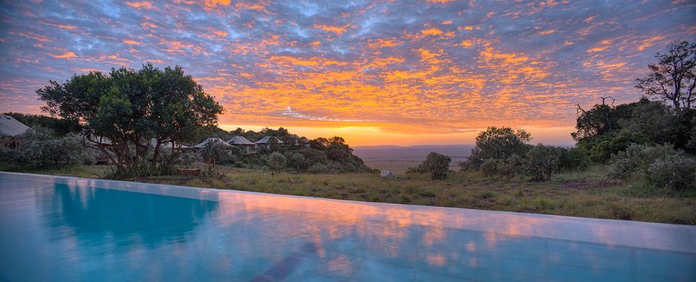 Coucher de soleil sur piscine Angama Mara