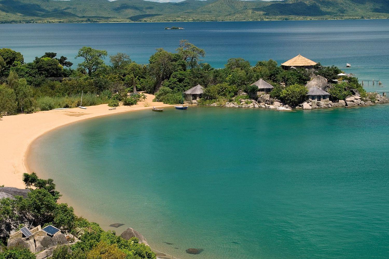 Vue du lodge et de la plage du ciel Kaya Mawa