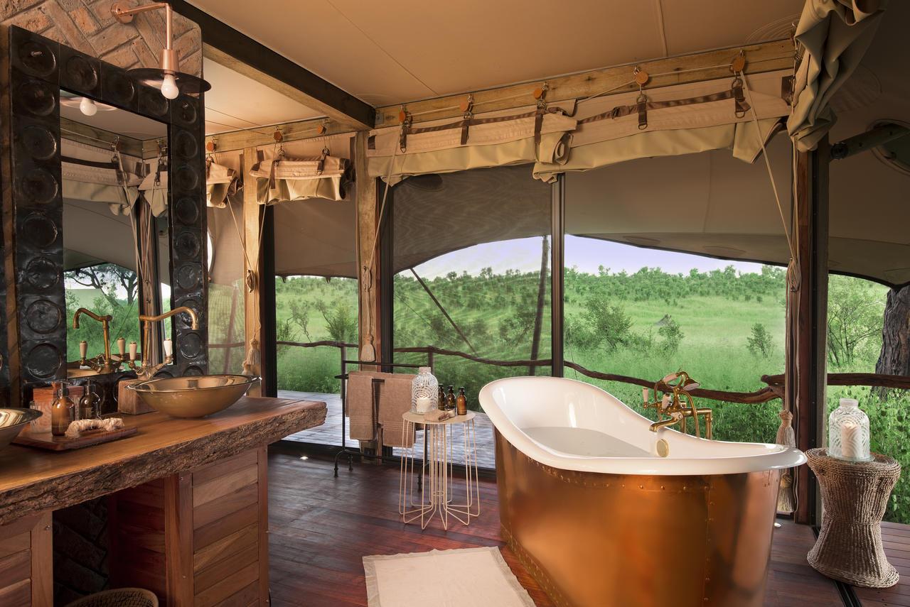 Safari Au Milieu des Eléphants - salle de bain du Somalisa camp