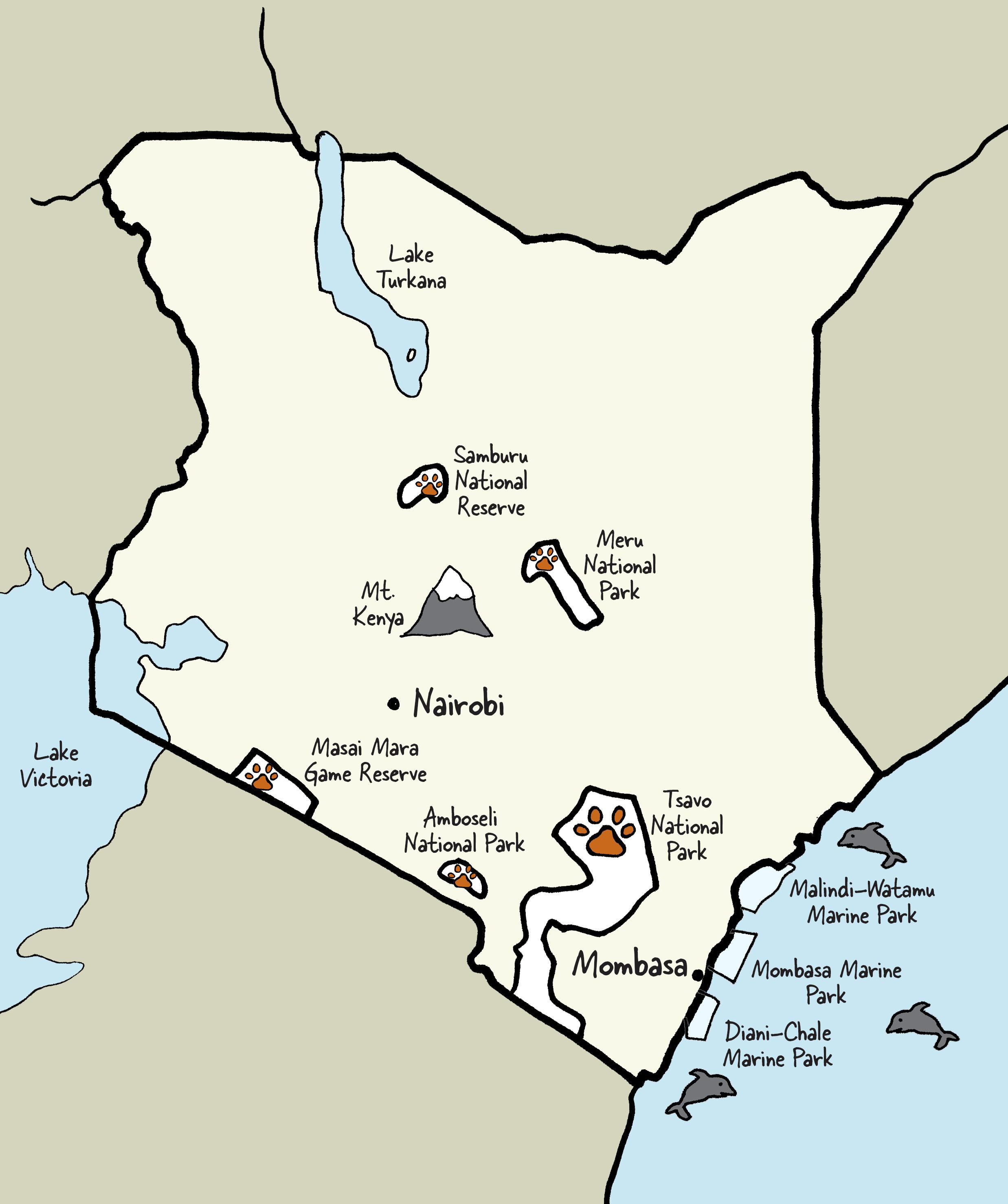 Carte du Kenya © www.afriquesurmesure.com Sàrl