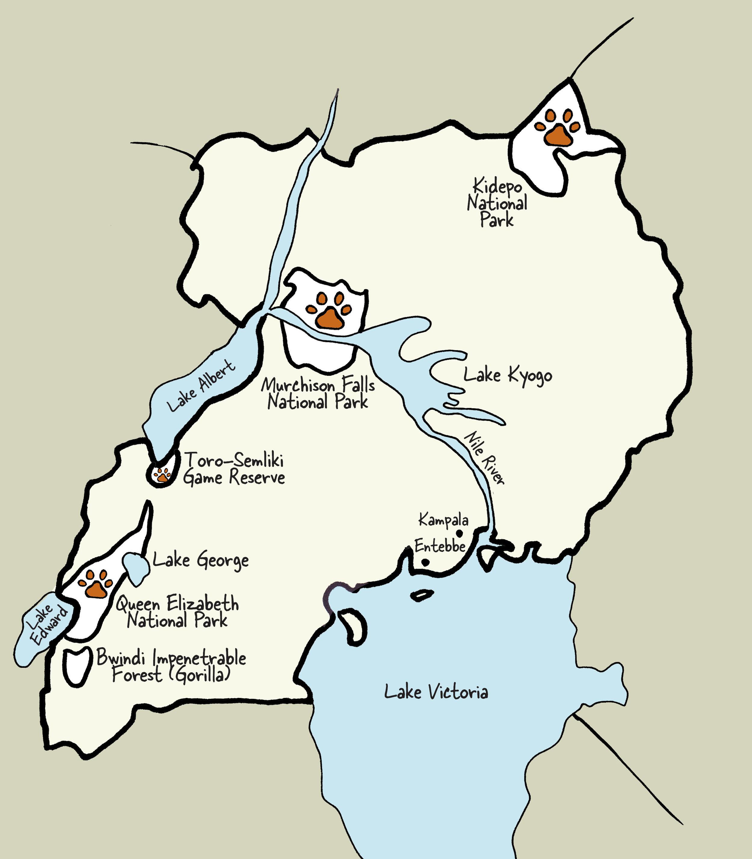 Carte de l'Ouganda © www.afriquesurmesure.com Sàrl