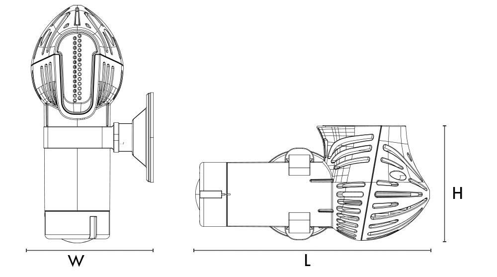 W=9.8cm/3.86inch   L=13.3cm/5.24inch   H=21.9cm/8.62inc h