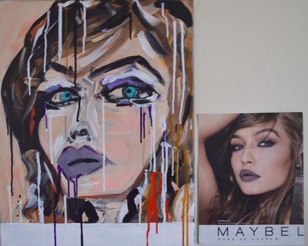 Mixed media (acrylic & spray), 18x24, Copyright 2018