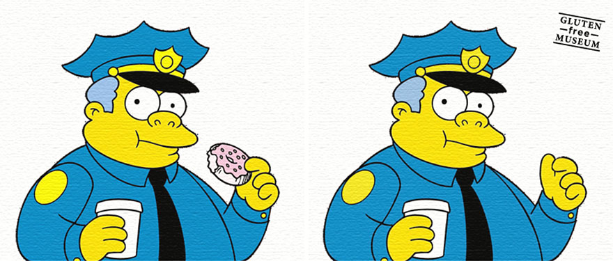Mmmm doughnuts...Chief Wiggum by Arthur Coulet, a French artist who removes glutenous products from famous artworks.  Check it out .